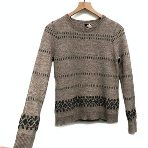 J. Crew Brown & Black Embroidered Sweater - Size M